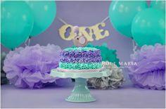 Purple and teal elephant themed 1st birthday smash cake