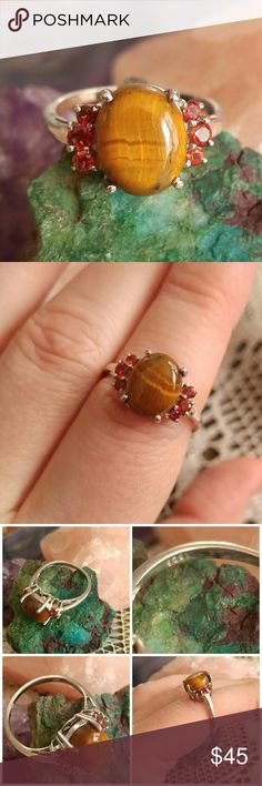 Tiger Eye Garnet ring .925 sterling silver sz 7.25 Beautiful ring set with a polished tiger eye center stone surrounded by 6 little faceted garnets. The band and setting are made of real solid sterling silver that is high quality. Size 7.25 (7 1/4 ) This ring is in very nice condition may have very slight surface wear- stamped 925 inside band - from a smoke free home.  MausD8388tiger888 Jewelry Rings