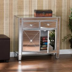 Best Mirrored Nightstand For Your Bedroom Design Ideas: Cool Mirrored Nightstand Design With Chairs And Wooden Floor For Family Room