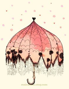 "I'm so IN LOVE with this!! It's sold out, but I couldn't resist pinning it -- colors, black ink-like detailed edging & ""rain"", heart at top. Beautiful! ~~ Umbrella Peach version by rosiemusic on Etsy @Etsy"