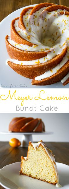 - A moist and delicious bundt cake with the sweetness of Meyer lemons. So pretty, … A moist and delicious bundt cake with the sweetness of Meyer lemons. So pretty, too! Lemon Desserts, Mini Desserts, Just Desserts, Meyer Lemon Recipes, Plated Desserts, Cupcakes, Cupcake Cakes, Cupcake Recipes, Baking Recipes