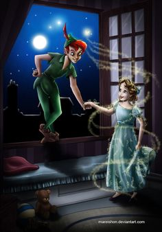 Peter Pan and Wendy by *Mareishon on deviantART