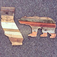 California & the Bear. 2ft reclaimed wall art (PomboArt) order: avepom@yahoo.com