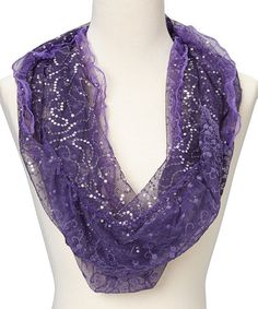 Look what I found on #zulily! Purple Sequin Lace Scarf #zulilyfinds