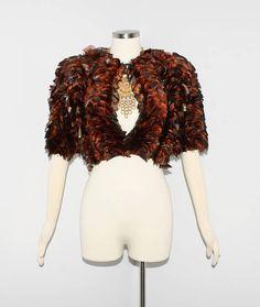 Vintage CHRISTIAN DIOR Jacket Orange Peacock Feather Cropped Formal Coat 3ed32192dd2ab