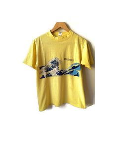 Vintage Stanford Hi Cru by Stedman Hawaii surf wave T-shirt. Yellow shirt with blue Hawaiian scenic image. Image on back and front. Front side reads