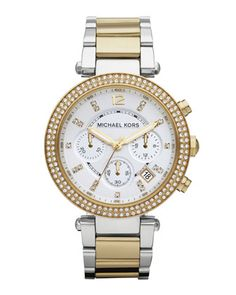 Michael Kors Parker Glitz Watch, Two-Tone. OMG I want!! Best of both worlds...gold and silver! Love it!