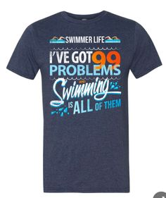 99 Problems...Swimming is all of them - Short Sleeved Heather Blue | SwimWithIssues