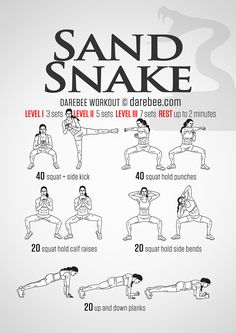 Sand Snake Workout-So this just kicked my ass (i was doing it with weights too) Fitness Motivation, Fitness Tips, Health Fitness, Health Diet, Hero Workouts, At Home Workouts, Studio Workouts, Superhero Workout, Kickboxing Workout