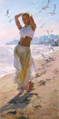 """A Walk on the Beach"" by Michael & Inessa Garmash; artist; art; beach; ocean; blue; beautiful paintings of women; painting; ladies; lady"