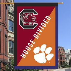 South Carolina Gamecocks/Clemson Tigers House Divided 28'' x 44'' Double-Sided Applique Flag