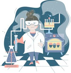 chemia, illustration, ilustracja, chemiczka, chemist, blue, sweets,
