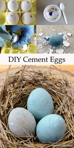 DIY Easter Eggs made with cement, latex paint, and water. Empty eggs are used as molds. Tutorial.