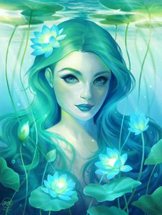 - Water Lilies by Maxine Vee. —- A water Maia maybe? Water Lilies by Maxine Vee. —- A water Maia maybe? Mermaid Drawings, Mermaid Art, Art Drawings, Mermaid Paintings, Vintage Mermaid, Manga Mermaid, Tattoo Mermaid, Inspiration Art, Character Inspiration