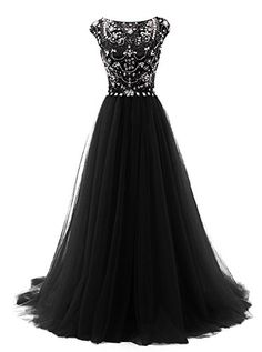 Uryouthstyle Black Long Beads Prom Dress Tulle Cap Sleeve... https://www.amazon.com/dp/B01I993PGE/ref=cm_sw_r_pi_dp_3FfHxb999QYAX