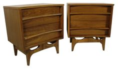 Mid-century modern walnut night stands.  I am on the prowl for night stands for the master bedroom and want these! $800