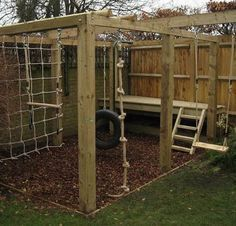 50 DIY Playground Project Ideas for Backyard Landscaping – Hinterhof Diy Playground, Playground Design, Natural Outdoor Playground, Patio Chico, Backyard Playset, Outdoor Playset, Backyard Playhouse, Outdoor Play Spaces, Natural Play Spaces