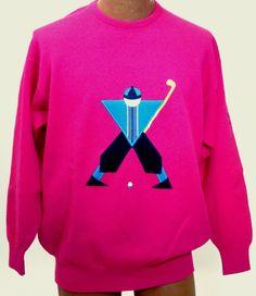 Vtg Pringle Iconic Sports Golfer Fuchsia Embroidered Wool Sweater Scotland  ** #Pringle #Crewneck