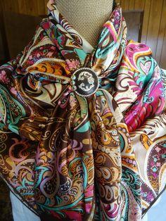 Ladies Dress Scarf Small Wild Rag Burgundy and Cream Paisley