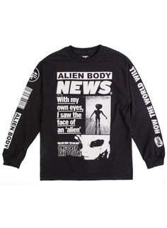 Alien Body: Flying Discs L/S T-Shirt (Black) | Mishka NYC