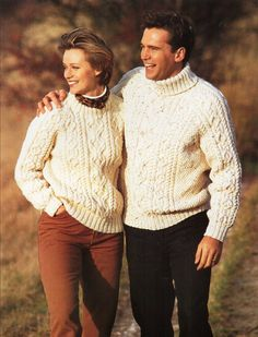 "ladies / mens aran sweater unisex knitting pattern pdf ladies cable crew or polo jumper Vintage 32-44"" aran worsted 10ply Instant Download by Hobohooks on Etsy"