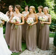 Taupe long bridesmaid dresses