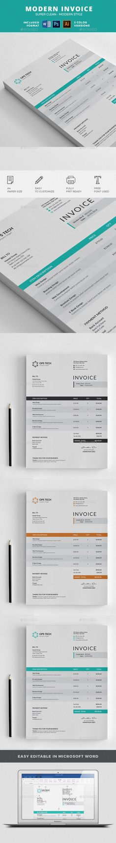 Invoice Template, Business proposal and Corporate identity - use of an invoice