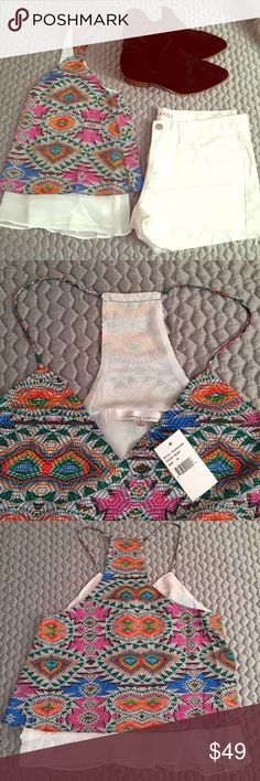 Lovers + Friends Double Layer Mosaic Tank! This lovers and friends brand double layer tank is bring new with tags! Wear with white cutoffs and ankle booties for a perfect festival look! Lovers + Friends Tops Tank Tops