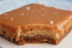A Little Bit Salty, A Little Bit Sweet... Salted Caramel Dulce de Leche Cheesecake Bars ~
