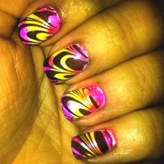 My first attempt at water marble nails. Neon rainbow. I <3 um :)