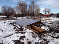 With snowy weather closing in, framing and finishing the roof and above ground walls on our Pit Greenhouse