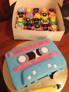 Cassette Tape Cake - Cassette tape, with pencil to wind the tape, for 80's themed birthday party :)