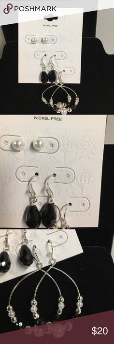 💍 Three pair earrings set 💍 Three pair earrings set. Pearl studs, black bead dangle, and bead/pearl dangle hoops. All with silver finish. Nickel Free. New boutique item! Jewelry Earrings
