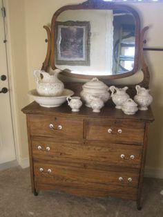 Antique Oak Dresser and Original Mirror