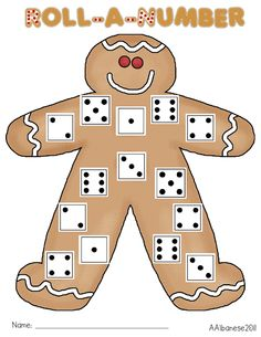 Roll a Number Gingerbread Man Freebie Game Christmas Ornaments For Students, Preschool Christmas, Christmas Activities, Preschool Activities, Winter Activities, Christmas Ideas, Preschool Projects, Preschool Worksheets, Preschool Learning