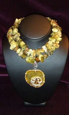 Natural raw chunks of Demantoid garnet design with Agate druzy pendant. Toria's handmade jewelry.