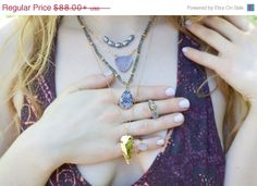 JULY 4TH SALE Gold Arrowhead Necklace / by AlisonStorryJewelry, $77.44 #arrowhead #bohemianjewelry #beachjewelry #alisonstorry