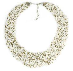 Weiss goldene Mini Perlen Optik Halskette Statement Kette Chocker Collier Modeschmuck