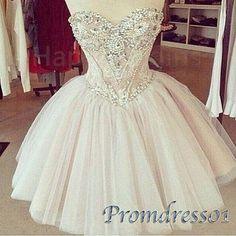 High waist short prom dress, ball gown 2016, sweetheart dress for teens, strapless tulle homecoming dress with rhinestones http://www.promdress01.com/#!product/prd1/4297671805/pale-pink-strapless-high-waist-prom-gown-for-teens #promdress