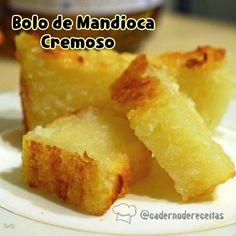 """2,024 curtidas, 113 comentários - Caderno de Receitas (@cadernodereceitas) no Instagram: """"BOLO DE MANDIOCA CREMOSO . INGREDIENTES . 500 ml de leite 4 ovos 1 xícara (chá) de açúcar 2…"""""""