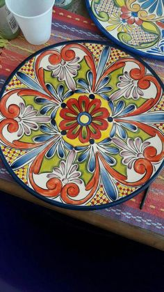 Yellow Snake Brick Red Midnight Blue Tan Dark Sea Green Old Rose Navy Blue Pottery Plates, Ceramic Plates, John Bauer, Ceramic Painting, Ceramic Art, Turkish Plates, Mexican Paintings, Pottery Painting Designs, Talavera Pottery