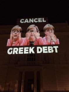 Giant projection on the German Embassy in London tonight w/ @dropthedebt #CancelGreekDebt #greece #OXI