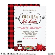 Shop Cookies & Hot Drinks Holiday Party Invitations created by printabledigidesigns. Hot Chocolate Party, Christmas Chocolate, Holiday Treats, Holiday Parties, Cookie Exchange Party, Christmas Planning, Holiday Party Invitations, Party Drinks, Cocoa