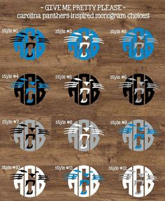 Carolina Panthers Inspired Monogram Sticker by GiveMePrettyPlease