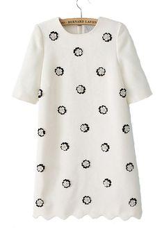 White Flowers Pearl Long Sleeve Chiffon Dress