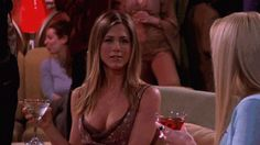 Jennifer Aniston low cut cleavage enhancing dress in 'Friends' ~ gif