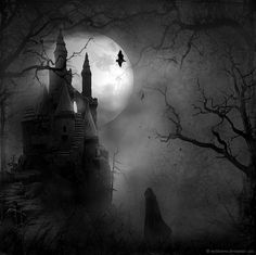 When The Full Moon Falls by wyldraven. I love to frame these kind of pictures for Halloween to put in my house as decor.