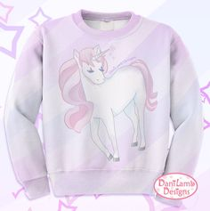 This Unicorn sweater features a cute magical unicorn with a flowing pink mane. She is a pastel dream, full of magic. This lavender unicorn sweatshirt has plenty of kawaii appeal, and is perfect for fairy kei and other pastel fashions.  Womens Size Standard Fit 100% Polyester  NOTE: due to the process the fabric may have imperfections  Made to Order takes about 3-4 weeks.  Also available as an all over print shirt on my website danilambdesigns.com (or request it)