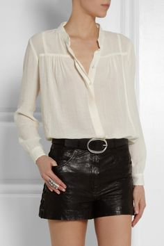 OMG! I love this blouse!  Skirts too short from me but I have some pencil skirts that would work.  Maje Envol crepe blouse NET-A-PORTER.COM