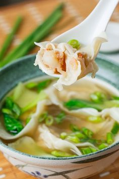 Shrimp Wonton Soup Recipe : Simple and tasty shrimp wonton soup! Seafood Recipes, Soup Recipes, Cooking Recipes, Cooking Tips, Asian Recipes, Healthy Recipes, Ethnic Recipes, Indonesian Recipes, Orange Recipes